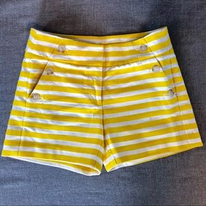 LOFT yellow and white embroidered shorts